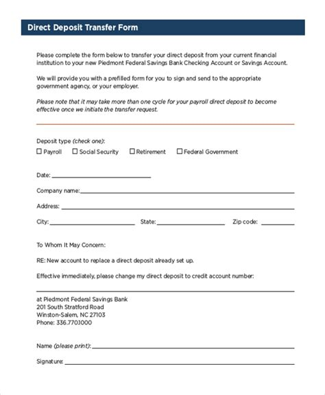 Credit Transfer Template Sle Social Security Direct Deposit Form Free Documents In Pdf