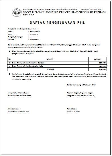 Sppd Dinas by Aplikasi Excel Surat Perintah Perjalanan Dinas Sppd