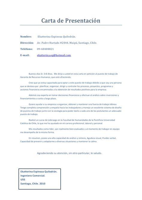 Modelo De Carta De Presentacion Para Enviar Un Curriculum Carta De Presentaci 243 N Pdf