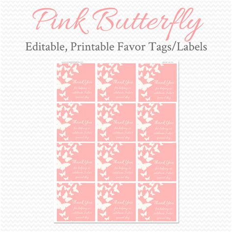 printable wedding shower gift tags party favor tags treat bag labels thank you tag pink