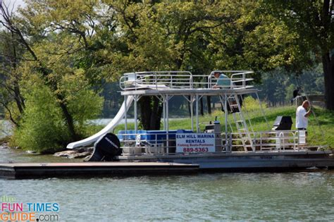 pontoon boat with grill and slide where to rent pontoon boats other water toys in