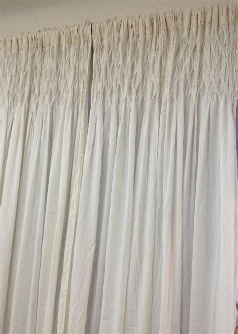 French country new curtain ruffled ivory smocked bed room window panel new
