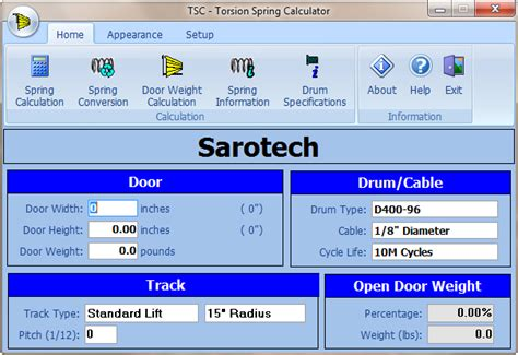 torsion calculator for overhead doors sarotech inc