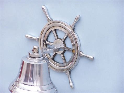Wholesale Nautical Decor Suppliers by Buy Chrome Hanging Ship Wheel Bell 7 Inch Wholesale