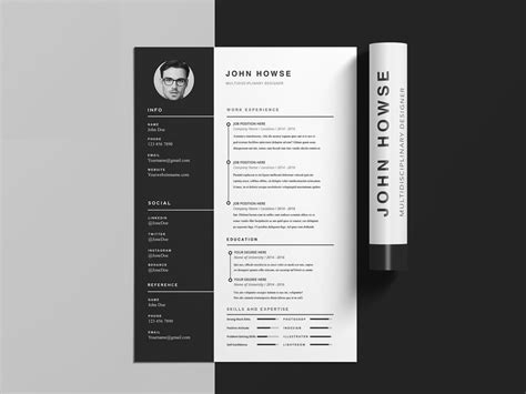 clean cv resume template cover letter