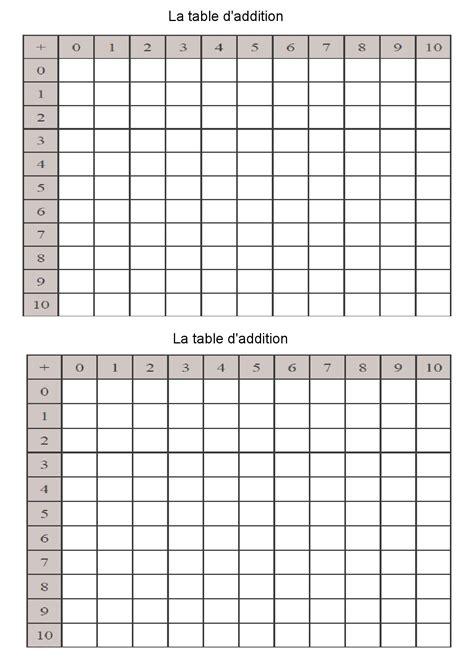 la table de six les tables d addition de 1 224 10 m 233 moriser table d addition