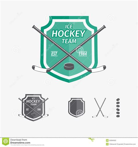 vintage hockey card template color vintage hockey emblem vector illustration