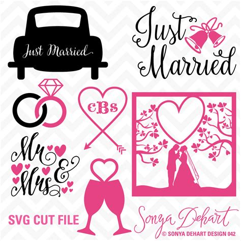 Wedding Just Married by Svg Dxf Just Married Wedding Cuttables By Sonya Dehart
