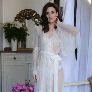 honeymoon nightwear lace trimmed tulle bridal robe f10 nightdress bridal wedding