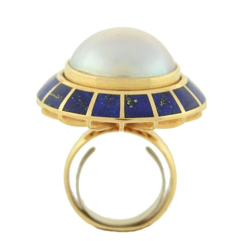 erte lapis mabe pearl gold quot soleil noir quot domed ring at 1stdibs