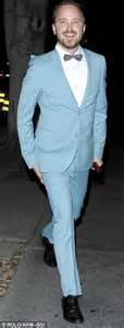 Light Blue Roses Aaron Paul In Suit And Bow Tie For Wife Lauren Pareskian S