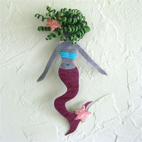 Handmade Mermaid - crafted handmade upcycled metal mermaid wall