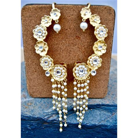 Anting Earrings Earcuff Gold Flower floral gold ear cuff earrings with pearl string