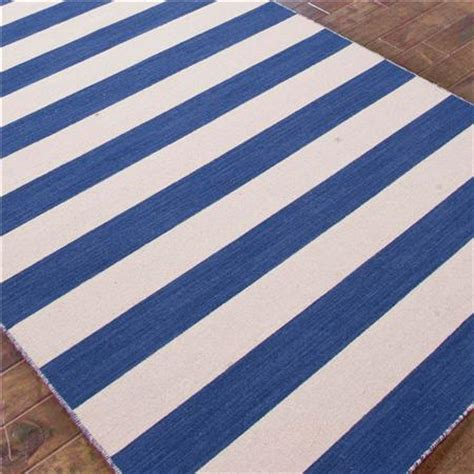 shades of light blue awning stripe rug copy cat chic