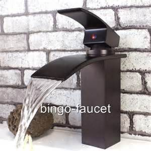 contemporary waterfall bathroom sink faucets in rubbed