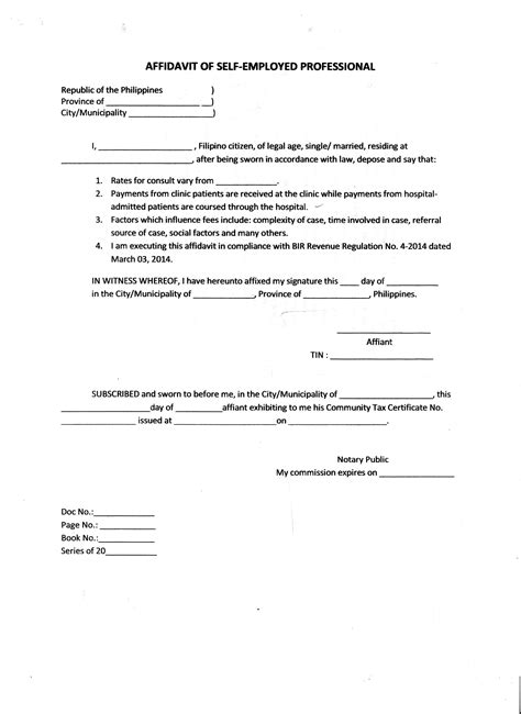 Affidavit Of Support Letter From Employer Exle brilliant affidavit of self employed professional sle with sworn and declaration and blank