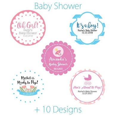 baby shower label template for favors personalized baby shower mini favor circle labels stickers