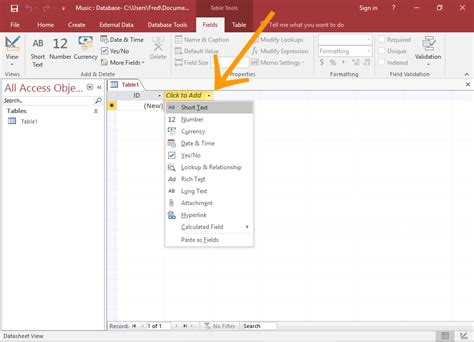 how to make a clicker for how to create a table in datasheet view in access 2016