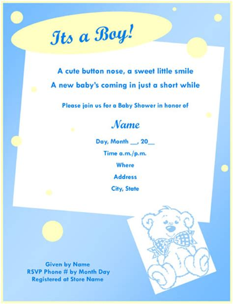 baby card template microsoft word printable baby shower invitations 4 free