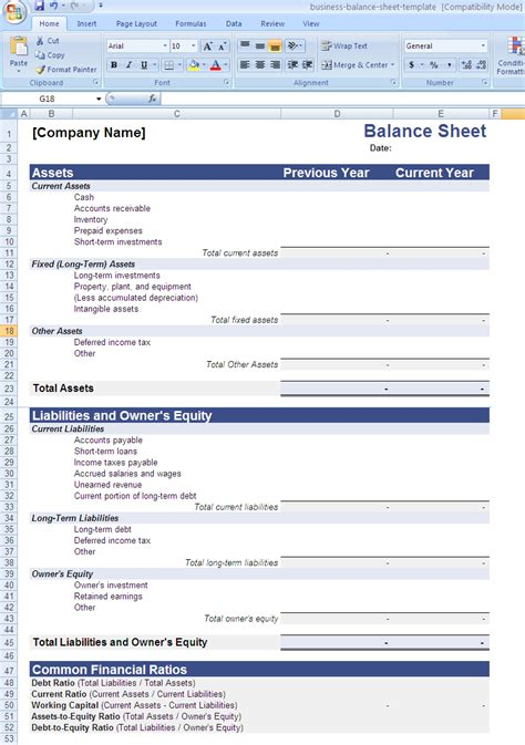 28 balance sheet format in excel with formulas common