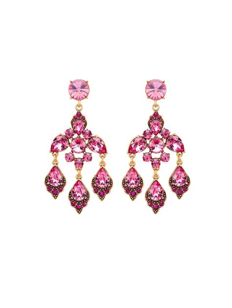 Purple Chandelier Earrings Oscar De La Renta Magenta Swarovski Chandelier Earrings In Purple Magenta Lyst