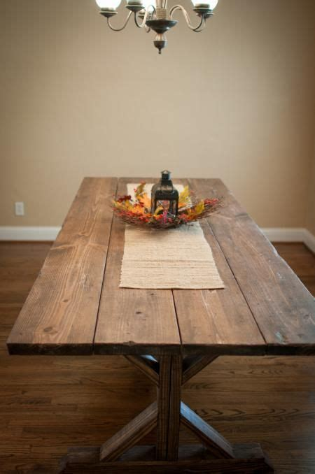 wide plank farmhouse table stained wood diy boards