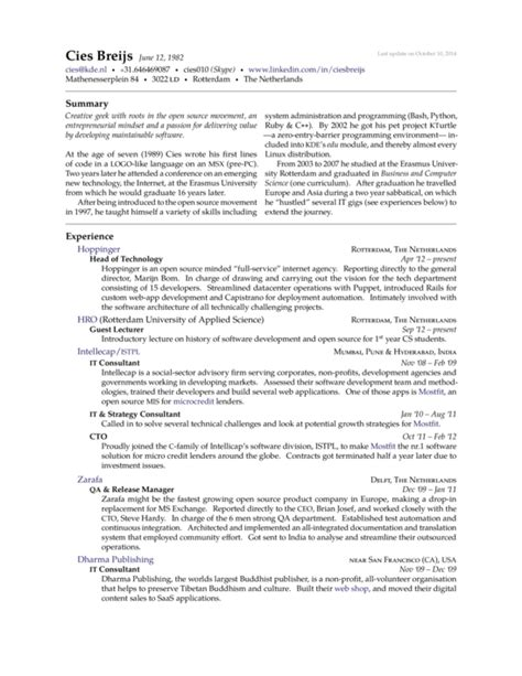 Resume Sample Hk by Cies Breijs Resume Latex Template Sharelatex Online