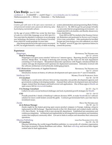 Resume Template Mit Cies Breijs Resume Template Sharelatex