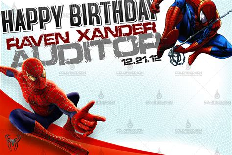 birthday tarpaulin layout design psd spiderman birthday tarp psd 171 coldfiredsgn