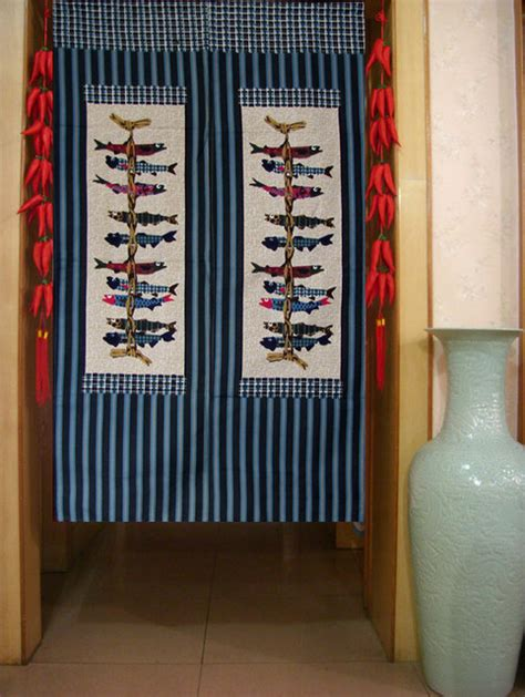 Noren iwashi fish japanese doorway curtain traditional by sinofaucet
