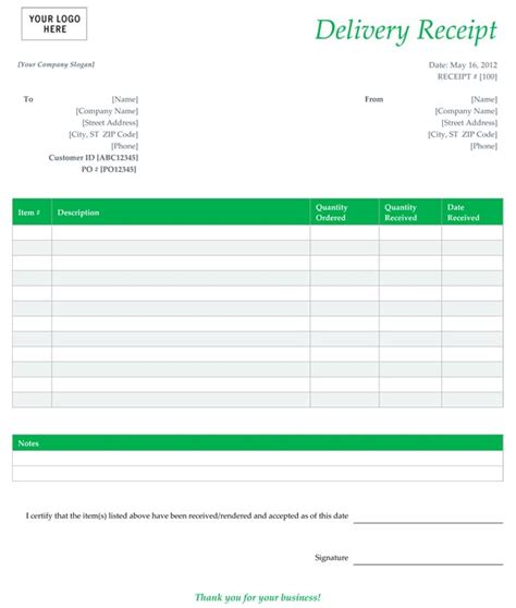 receipt template free free delivery receipt template