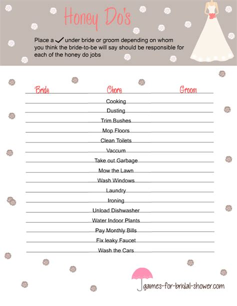 printable bridal shower games for free free printable honey do s game for bridal shower