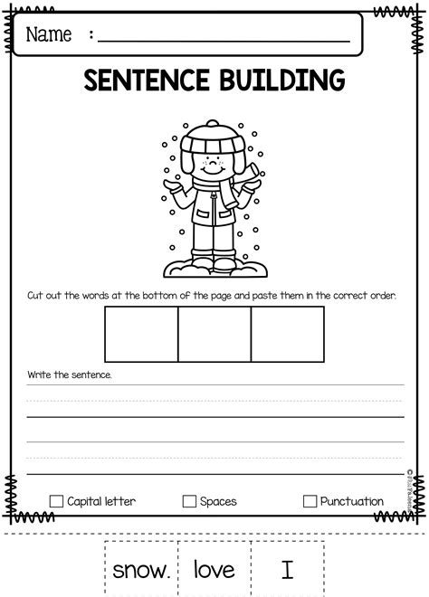 kindergarten worksheet writing sentences free printables