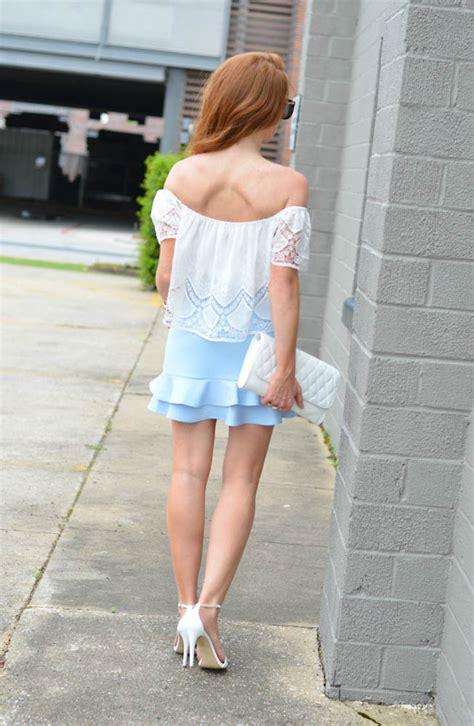baby blue ruffle skirt jimmy choos tennis shoes