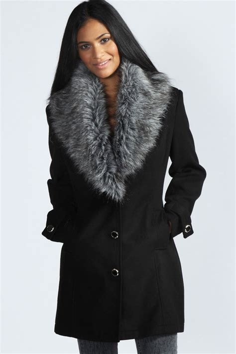 Faux Fur Collar Coat boohoo libby shawl faux fur collar fitted coat in black ebay