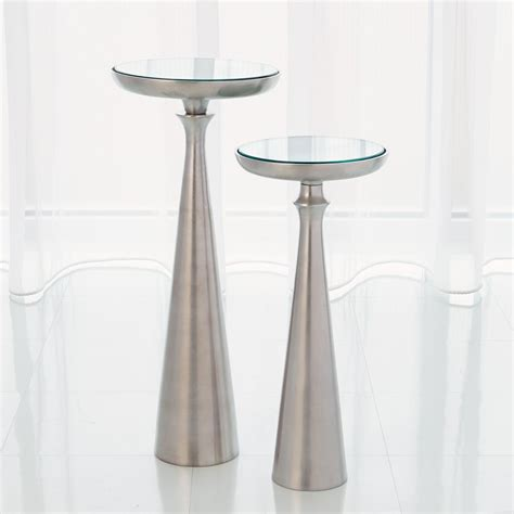 global views 7 90373 spike accent table with white marble global views studio a large minaret satin nickel accent