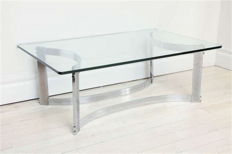 Rectangular Coffee Table With Glass Top Rectangular Coffee Table With Glass Top And Curved Chrome Base At 1stdibs