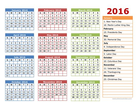 printable yearly calendars with holidays and observances