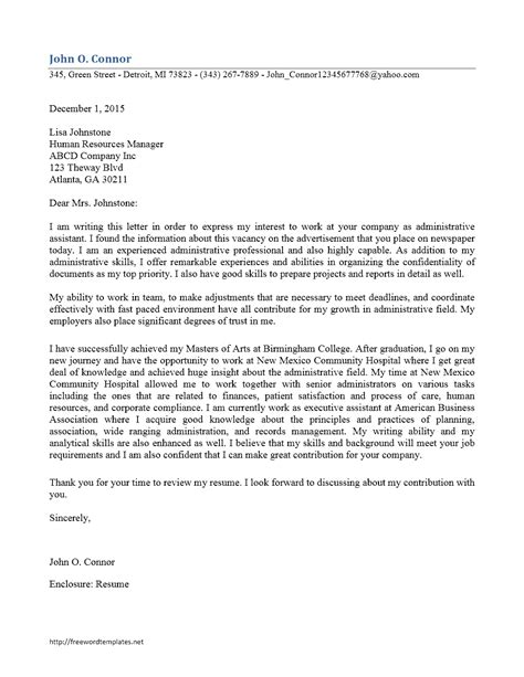 Cover Letter For An Admin Job – Example of a Cover Letter for Administrative Jobs