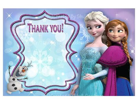 Frozen Thank You Card Template by Frozen Thank You Cards Printable Diy Digital File
