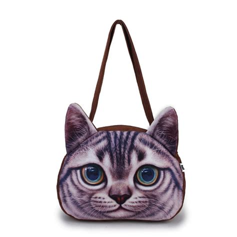 cute pattern purse women 3d cute cat face shoulder bag cat animal pattern