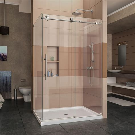 Frameless Corner Shower Doors Dreamline Enigma X 48 375 In X 76 In Frameless Corner Sliding Shower Enclosure In Brushed