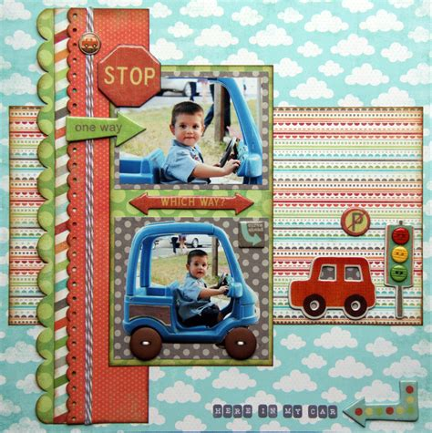 scrapbook layout new car colorful boy s car scrapping page with car