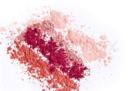 Find Home Plans by Makeup Powder In Three Colors On White Background Stock