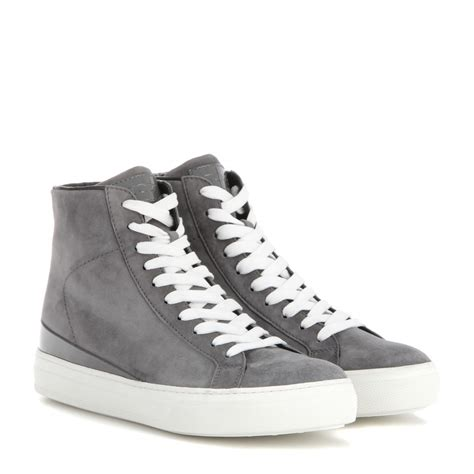 grey high top sneakers lyst tod s suede high top sneakers in gray