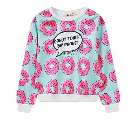 Donut Print Crop Top 10021 donut sweatshirt harajuku pullover crop