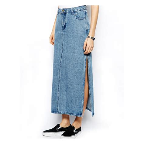 s sidepiece placket denim skirt s casual ankle