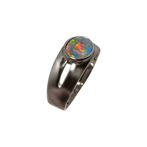 black opal mens ring mens black opal ring gold band black opal rings men