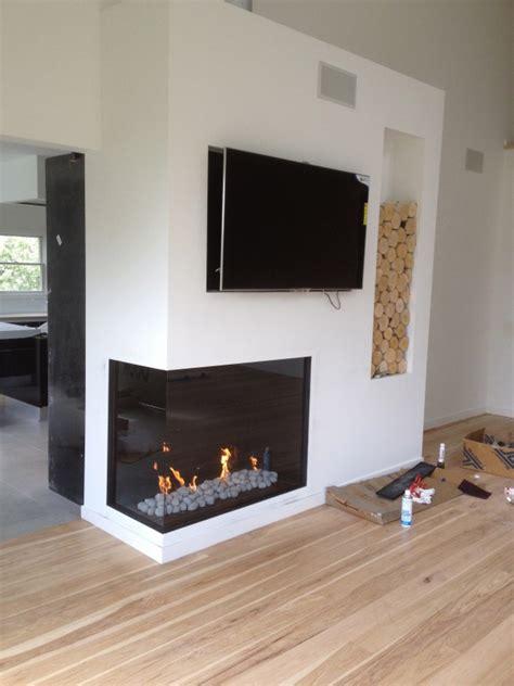 custom corner fiamma fireplace island ny