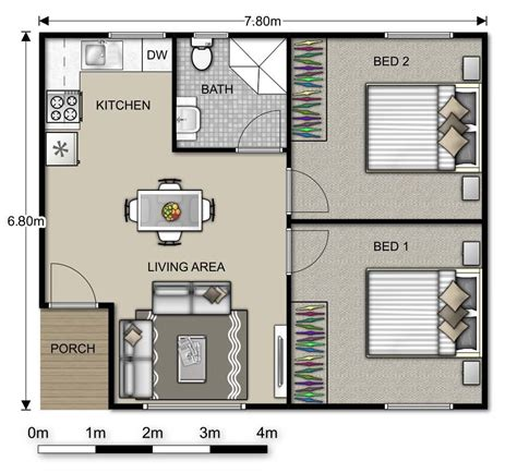 1 Bedroom Guest House Floor Plans granny flat plans